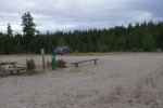 Picture of lonely pickup truck in campground